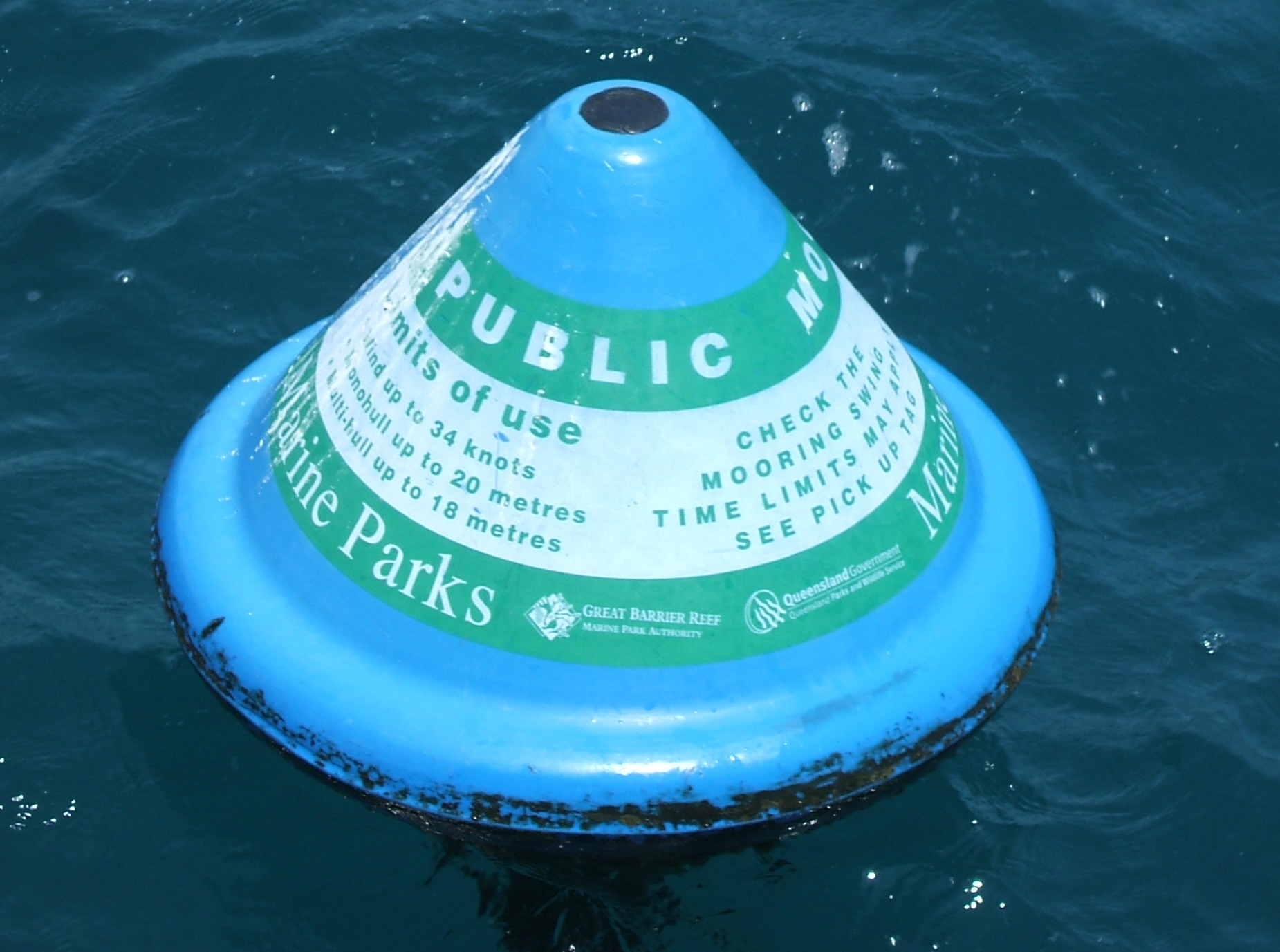 Public moorings are available to all Reef users and are shaped like a blue beehive.