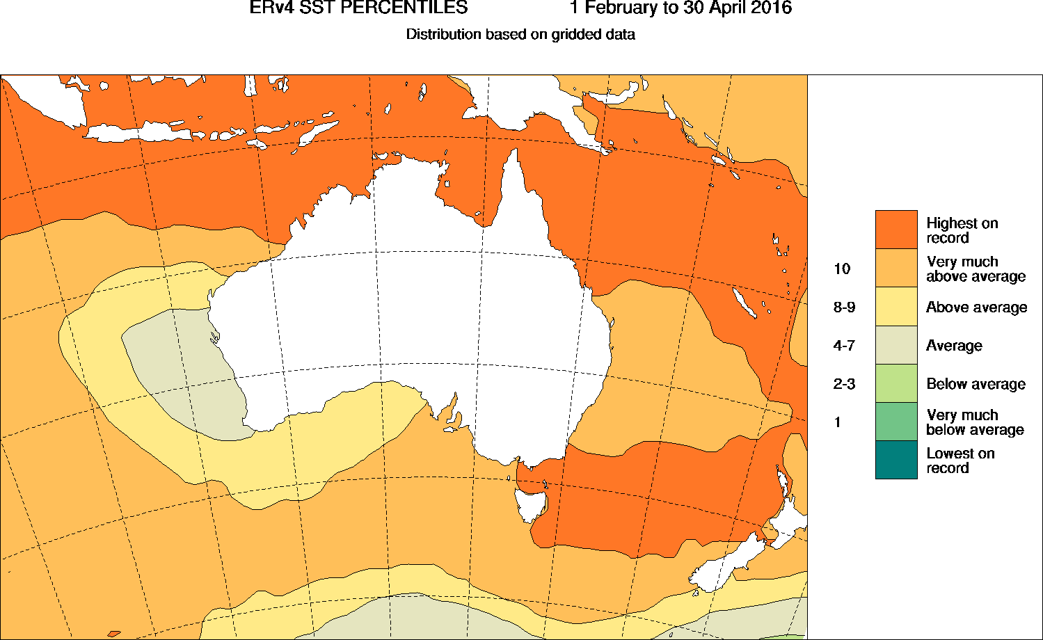 Map showing ocean temperatures around much of Australia were either above average or the highest on record.