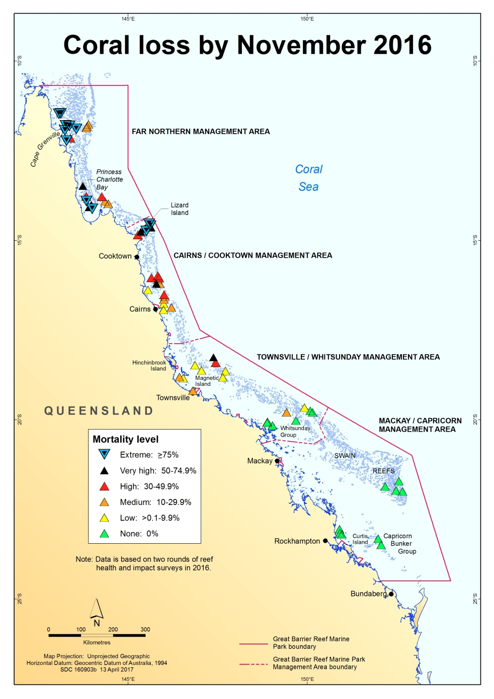 Map of the Great Barrier Reef Marine Park that shows the level of coral loss by November 2016