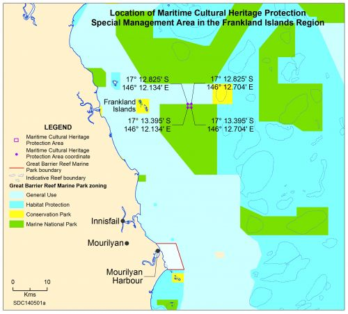 Location maritime cultural heritage protection Frankland Islands Map