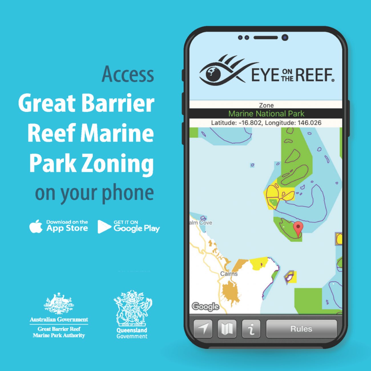 Access Great Barrier Reef zoning on your phone by downloading the Eye on the Reef app.