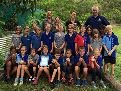 Students and teachers at Cooktown State School were excited to receive the Great Barrier Reef Marine Park Authority Ripples of Change grant from Andrew Denzin. They will use the $500 funding to build a chook pen and collecting food scraps that can be composted by the chickens.