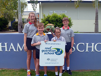 Year 6/7 Captains at Ingham State School Delta Hatfield, Ava Stanford, Brody Mombelli and Trent Altadonna were excited for their school to be welcomed to the Reef Guardian Schools program. There are 308 schools and over 123, 000 students engaged in the program across Queensland helping to protect the Great Barrier Reef together.