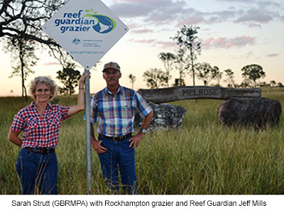 Sarah Strutt (GBRMPA) with Rockhampton grazier and Reef Guardian Jeff Mills