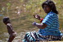 Mum with niece. Mum is always keen to get us kids fishing and camping by Claudia Moondoonuthi of Aurukun