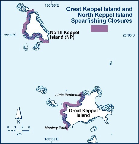 The images outlines areas that are no go zones for spearfishing in the Keppel Bay area